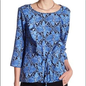 NWT JOE FRESH ruffle crepe top, L